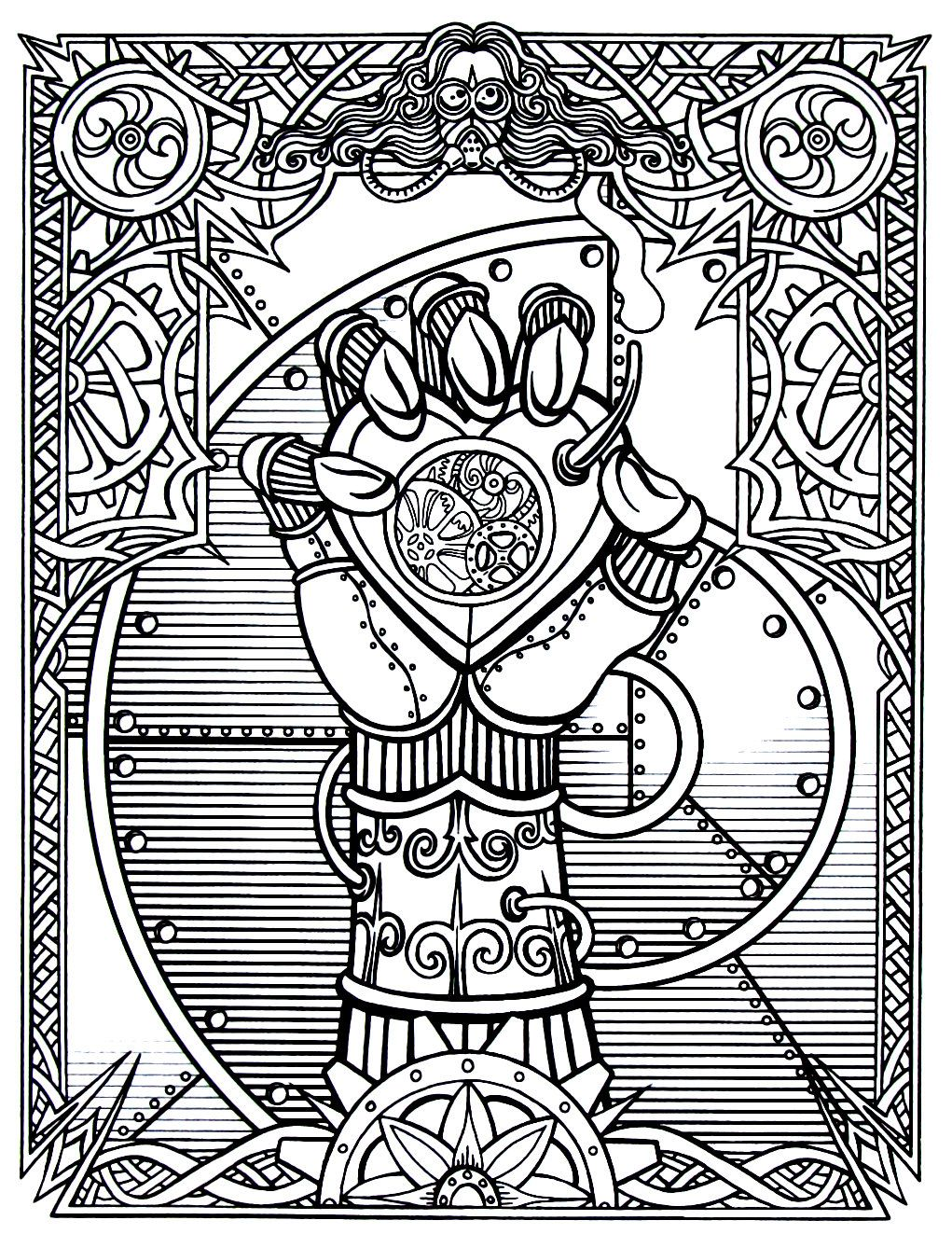 Steampunk Wrapped Hand With Heart Clock Printable Coloring Book Page Steampunk Coloring Book Steampunk Coloring Coloring Books