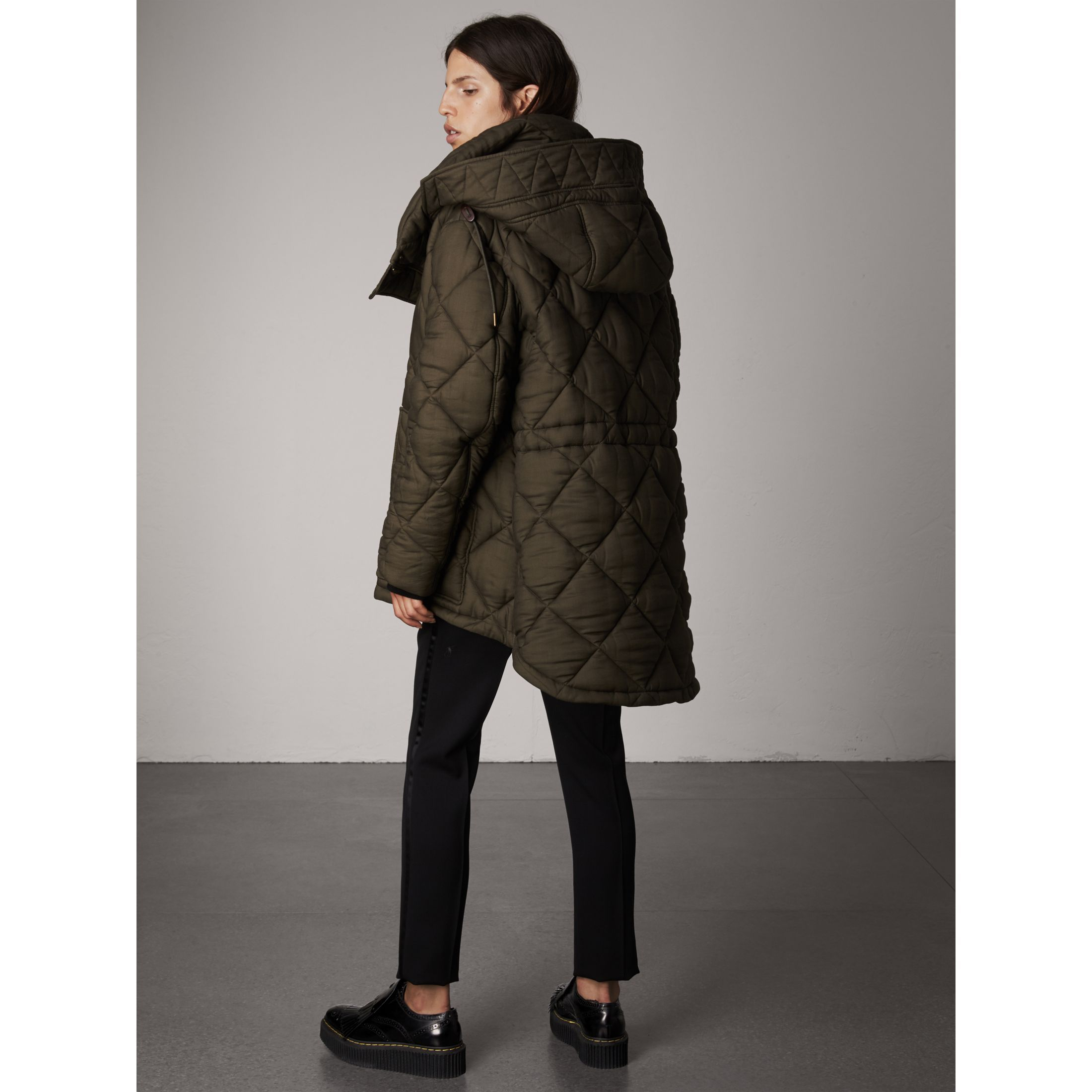 6ad2ef58cda32 Detachable Hood Oversized Quilted Jacket in Olive - Women   Burberry ...