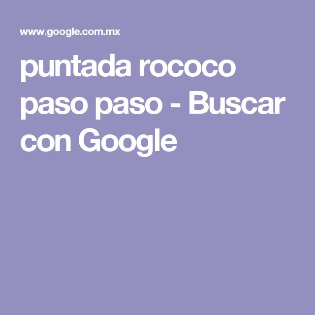 puntada rococo paso paso - Buscar con Google