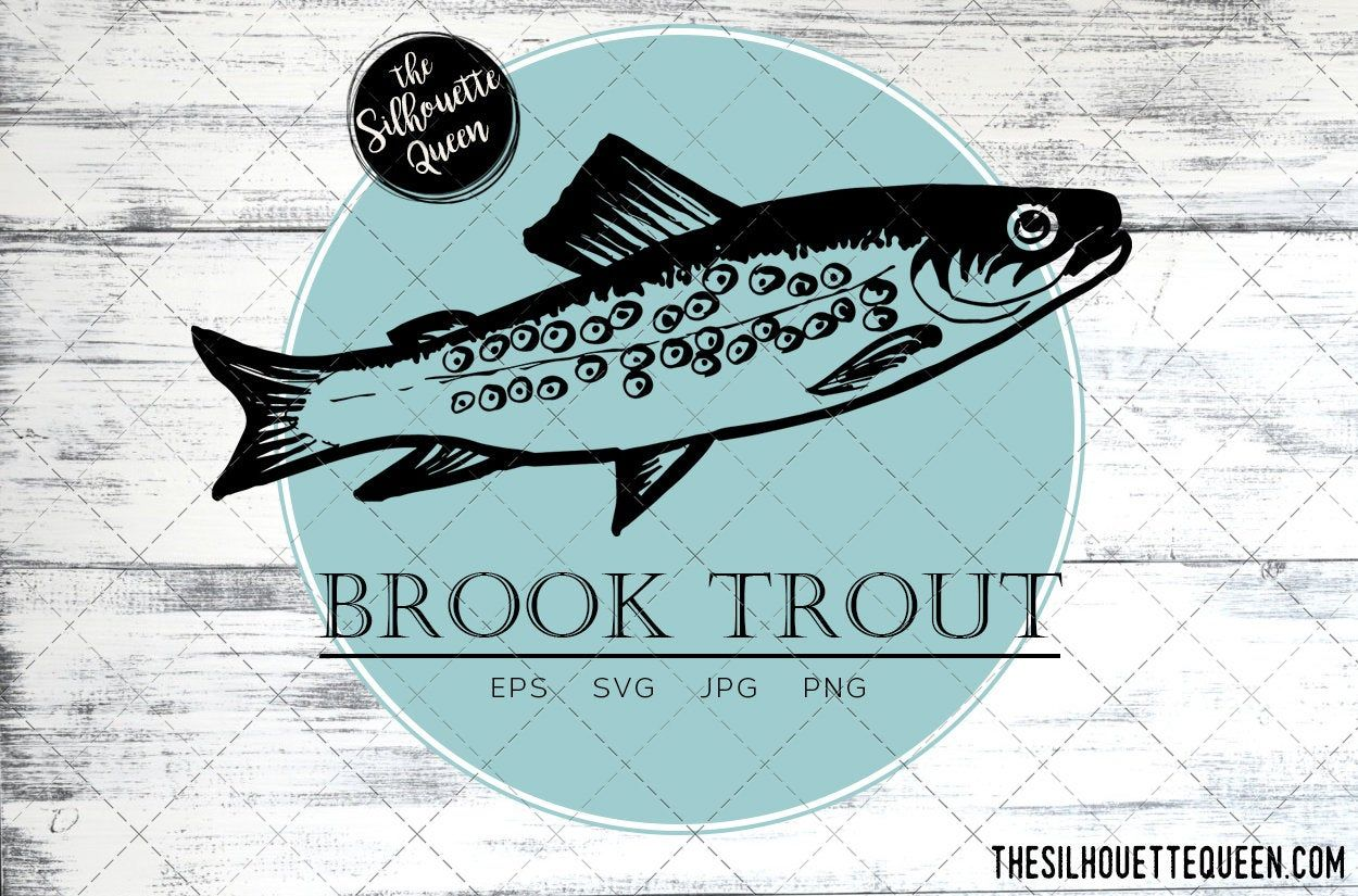 Brook Trout Fish Svg Design Files Hand Drawn Fishing Vector Etsy In 2021 Fish Vector How To Draw Hands Fish Graphic