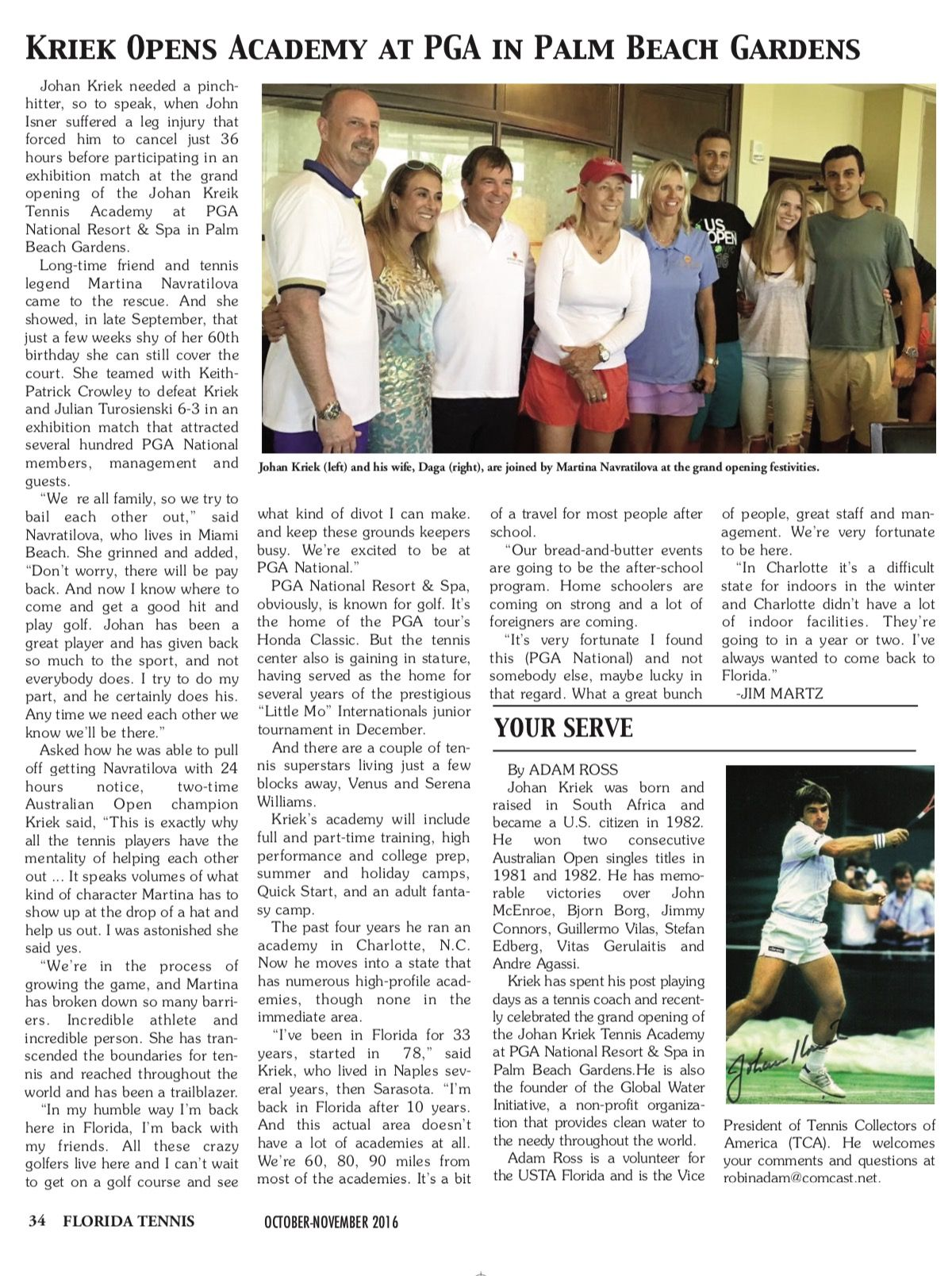 Thank You Florida Tennis For This Sneak Peek Into Your Upcoming November Issue Thank You Also For The Nic Martina Navratilova Palm Beach Gardens Great Friends