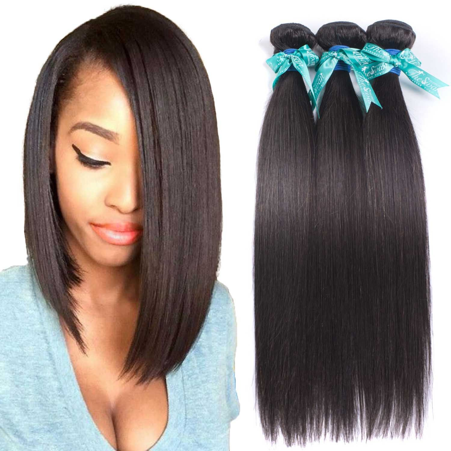 Swan 7a Straight Brazilian Hair 3 Bundles Hair Extensions Real Human