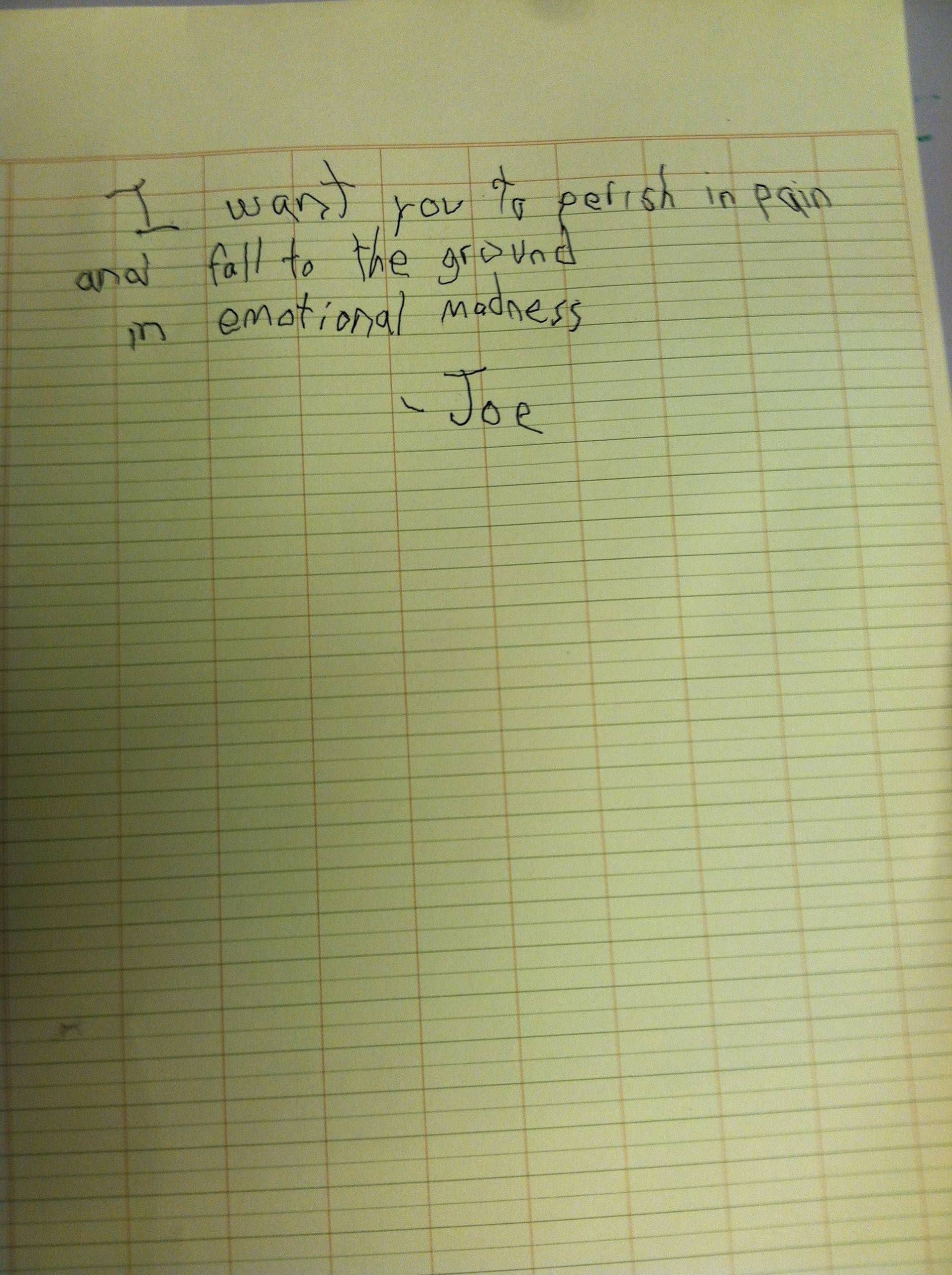 My friend's autistic son wrote this to the girls who threw sand at him during recess  // funny pictures - funny photos - funny images - funny pics - funny quotes - #lol #humor #funnypictures