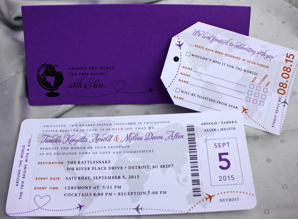 Purple, Orange \ Gray World Map, Globe, Compass \ Airplanes - airplane ticket invitations