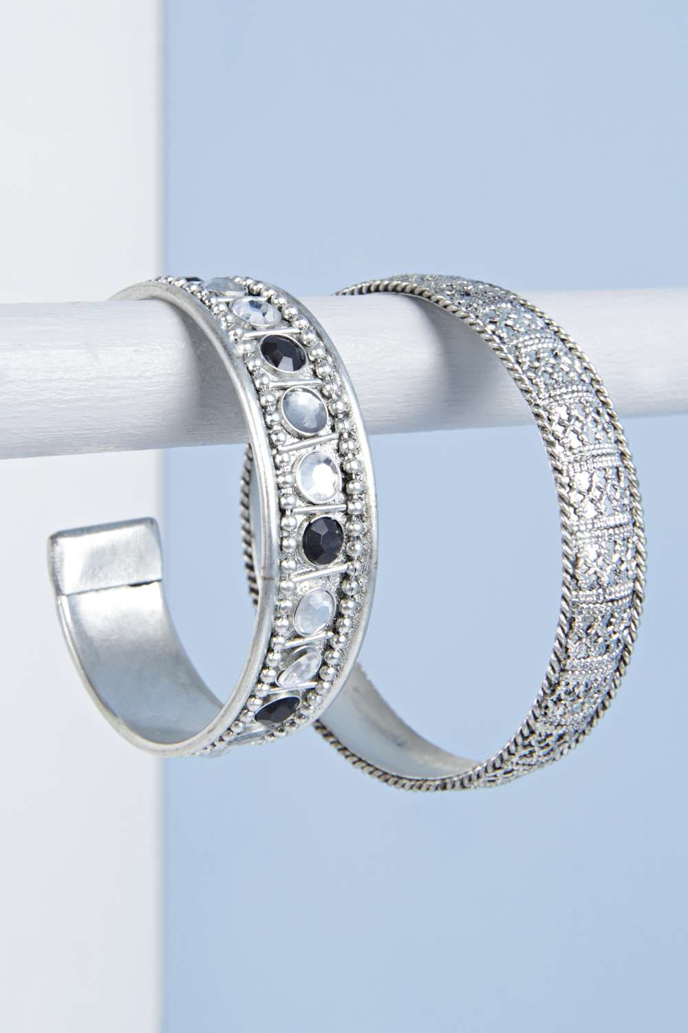 Stone and filigree detail bangle set silver fashiontodiefor