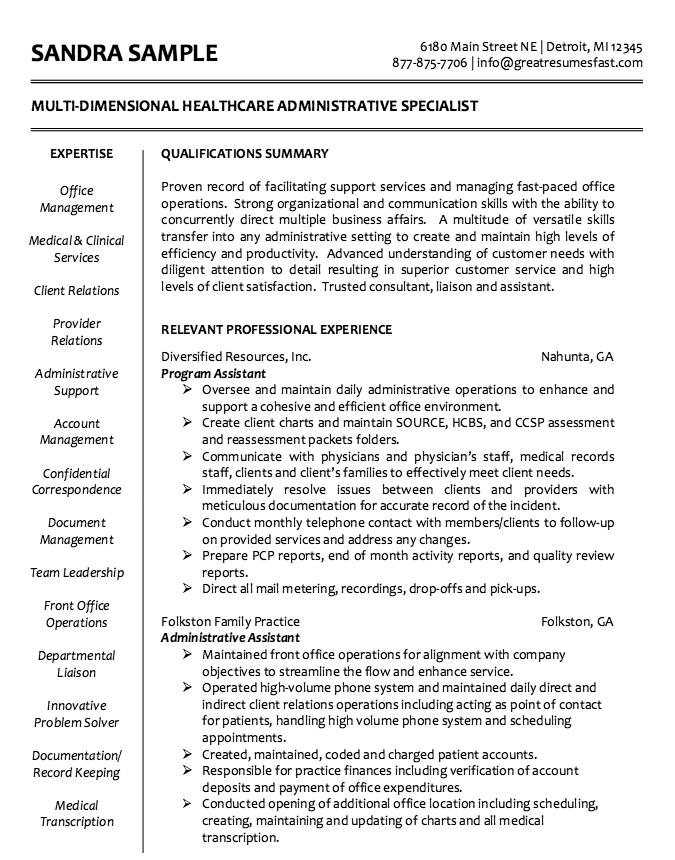 Example Of Healthcare Administrative Resume http