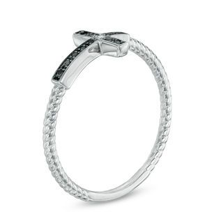 Zales Enhanced Blue and White Diamond Accent Sideways Cross Ring in Sterling Silver 2CtMV5yc3