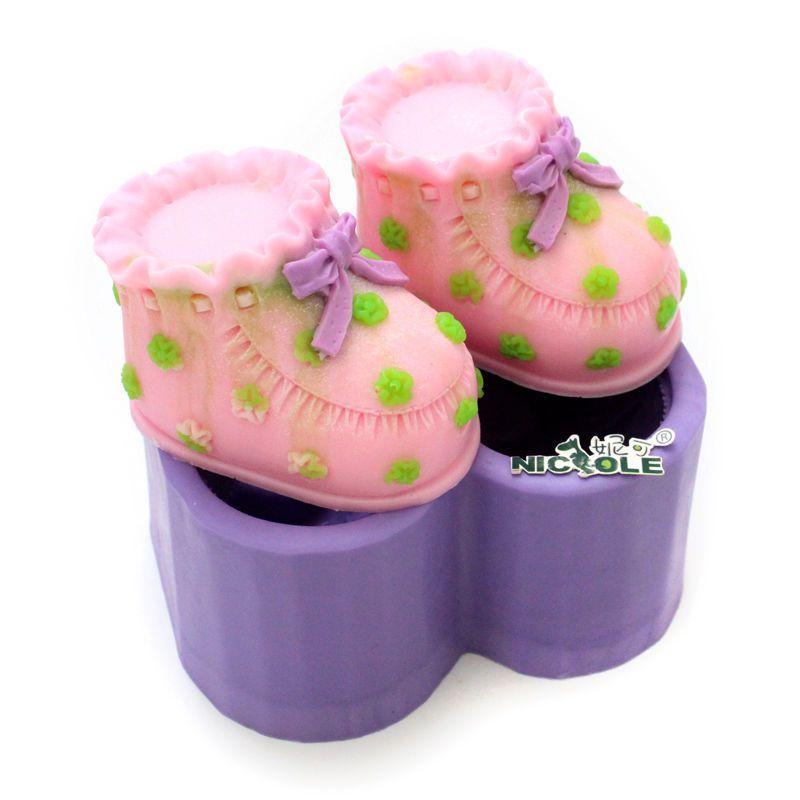 Baby shoes lace silicone soap mold fondant cake decorating