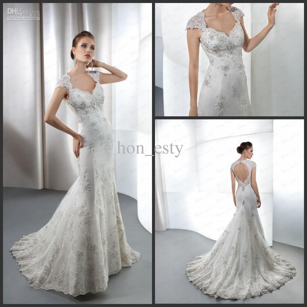 Wholesale Wedding Dresses - Buy Mermaid Classic Wedding Gowns Lace Cap Sleeves Peachheart Back Crystal Beads Beading Demetrios 1444, $188.52 | DHgate