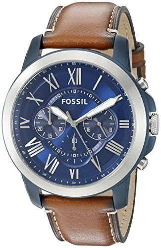 bc986723f046 Just arrived Fossil Men s FS5151 Grant Chronograph Stainless Steel Watch  With Light Brown Leather Band