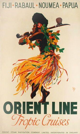 Vintage Cruise Travel Poster: Orient Line Tropic Cruises