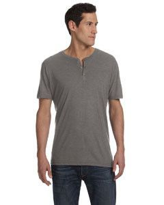 44e5f07719f6 Bella + Canvas Men's Triblend Short-Sleeve Henley 3125 GREY TRIBLEND