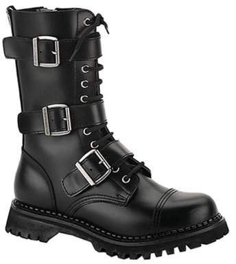 5881907ee9c SummitFashions mens black leather calf boot 12 eyelet 3 strap gothic punk boot  steel toe