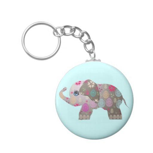 Cute bright elephant key chain