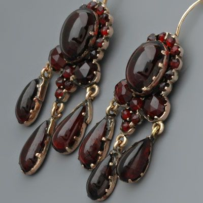 Antique Victorian Earrings with Rosecut Garnets in Garnet Gold