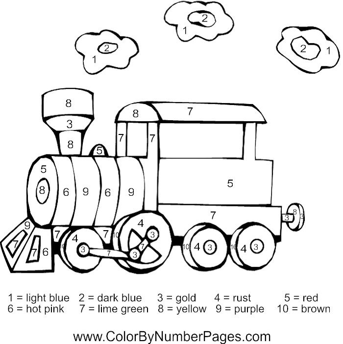 Color By Number Coloring Pages Colorful Pictures Coloring Pages Train Pictures
