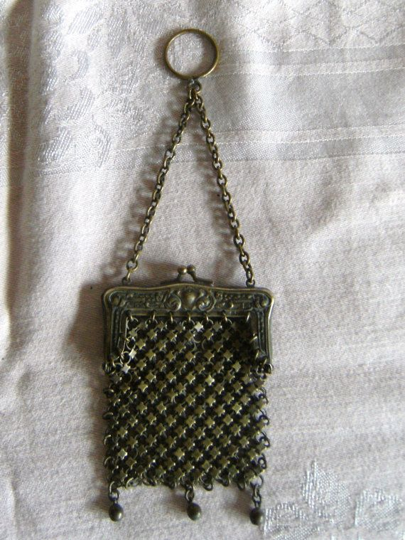 Vintage Reasonable Antique Art Nouveau Floral German Silver Frame 5 Ball Fringe Mesh Coin Purse A Great Variety Of Goods