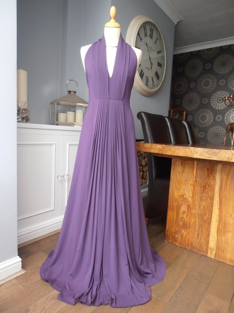 Coast maxi long plum goddess halter neck evening dress size 16