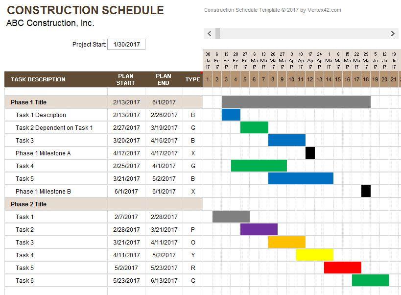 Construction Schedule Weekly Schedule Template Excel Schedule Template Schedule Templates