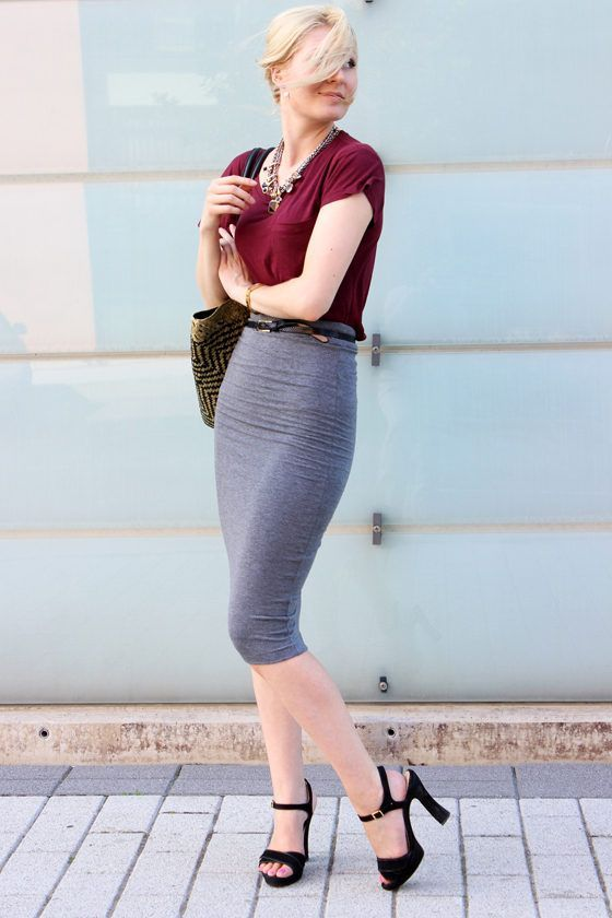 0c4fa406e15779 Long Tight Gray Pencil Skirt Red Top Sheer Pantyhose and Black Strappy High  Heels