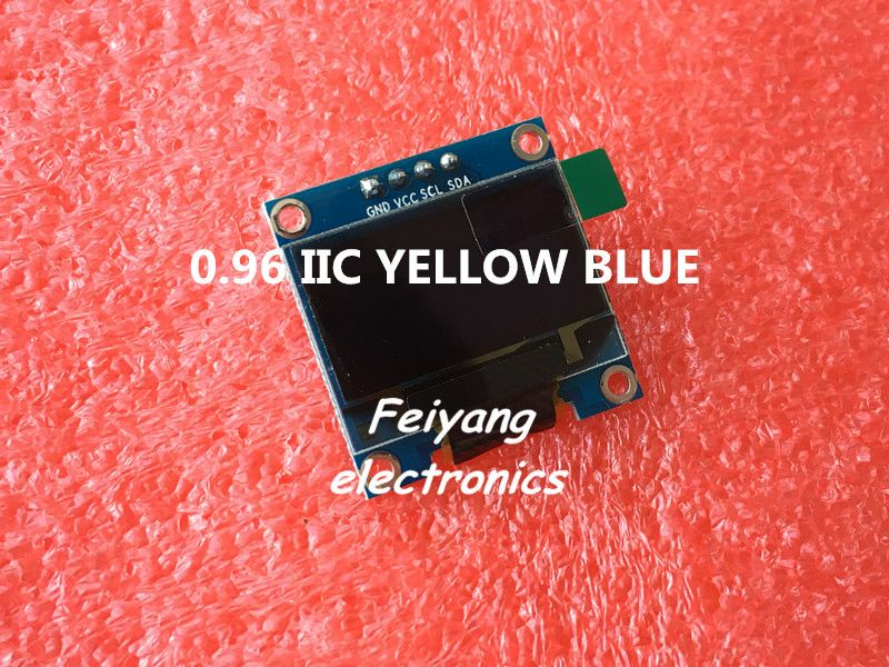 "1 unids 0.96 ""amarillo azul 0.96 pulgadas OLED módulo Nuevo 128X64 OLED Módulo de Pantalla LED LCD Para Arduino 0.96"" IIC I2C Comunicarse"