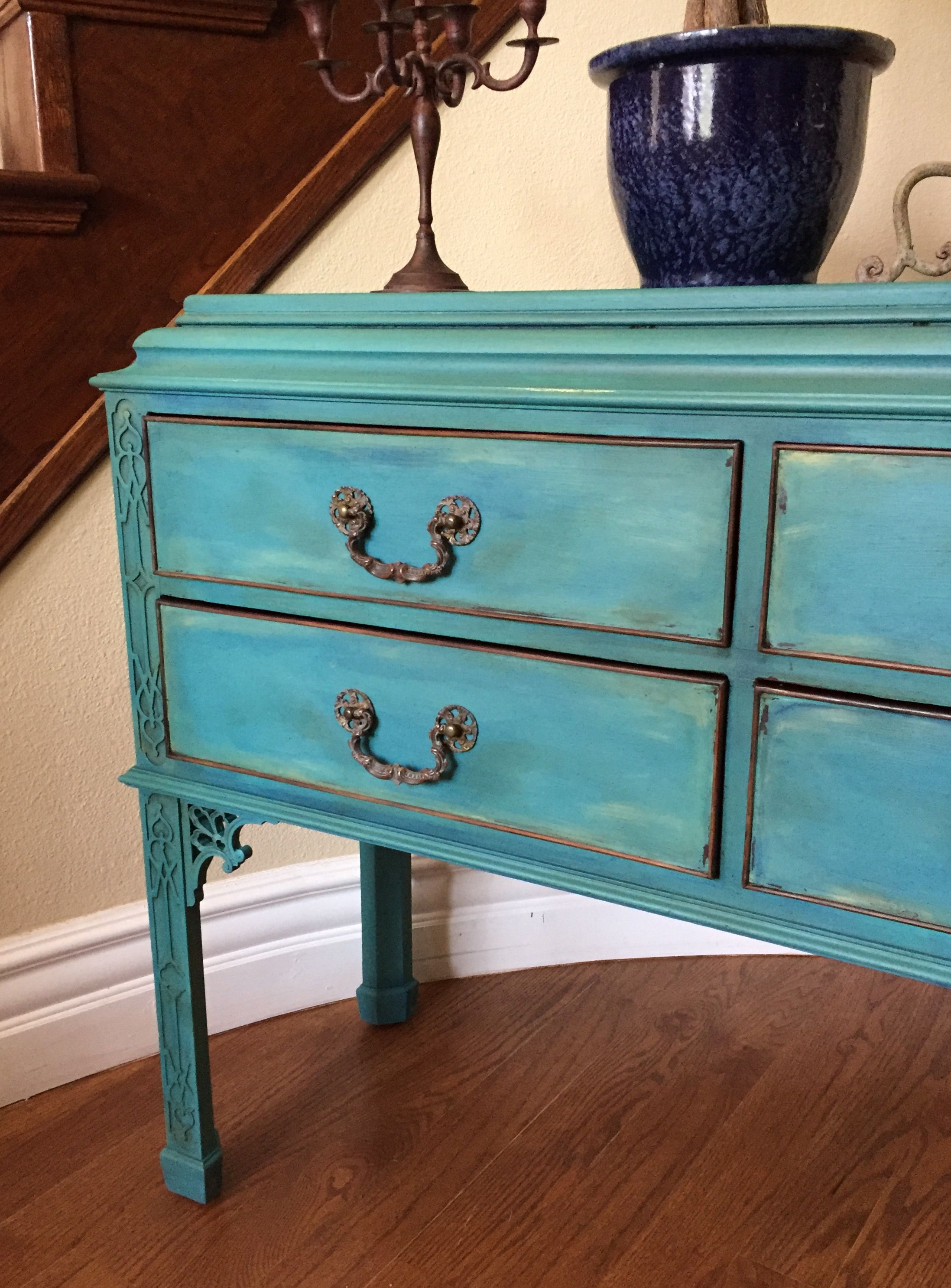 Chalk Painted Antique Cabinet In A Beautiful Teal Color Refinishing Furniture Furniture Furniture Inspiration