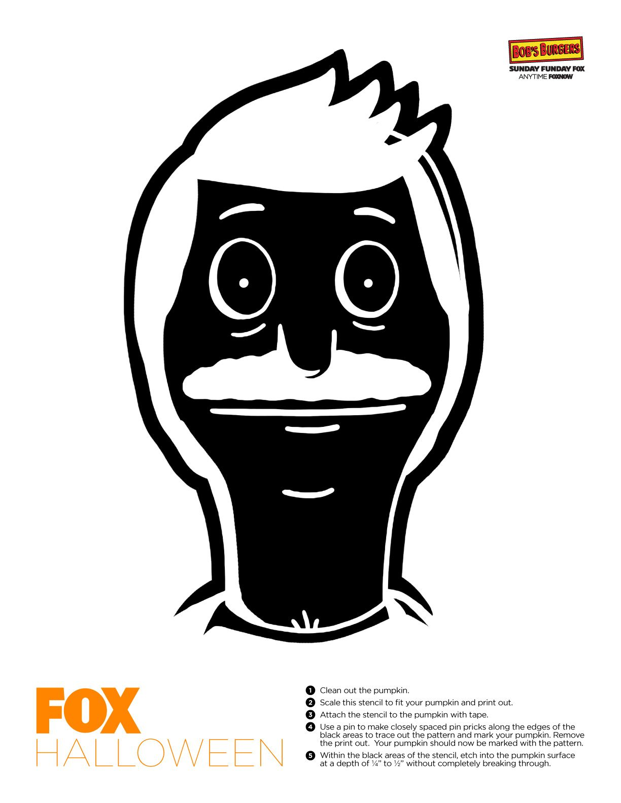 Want Bob on your pumpkin this year? Just print out this stencil ...