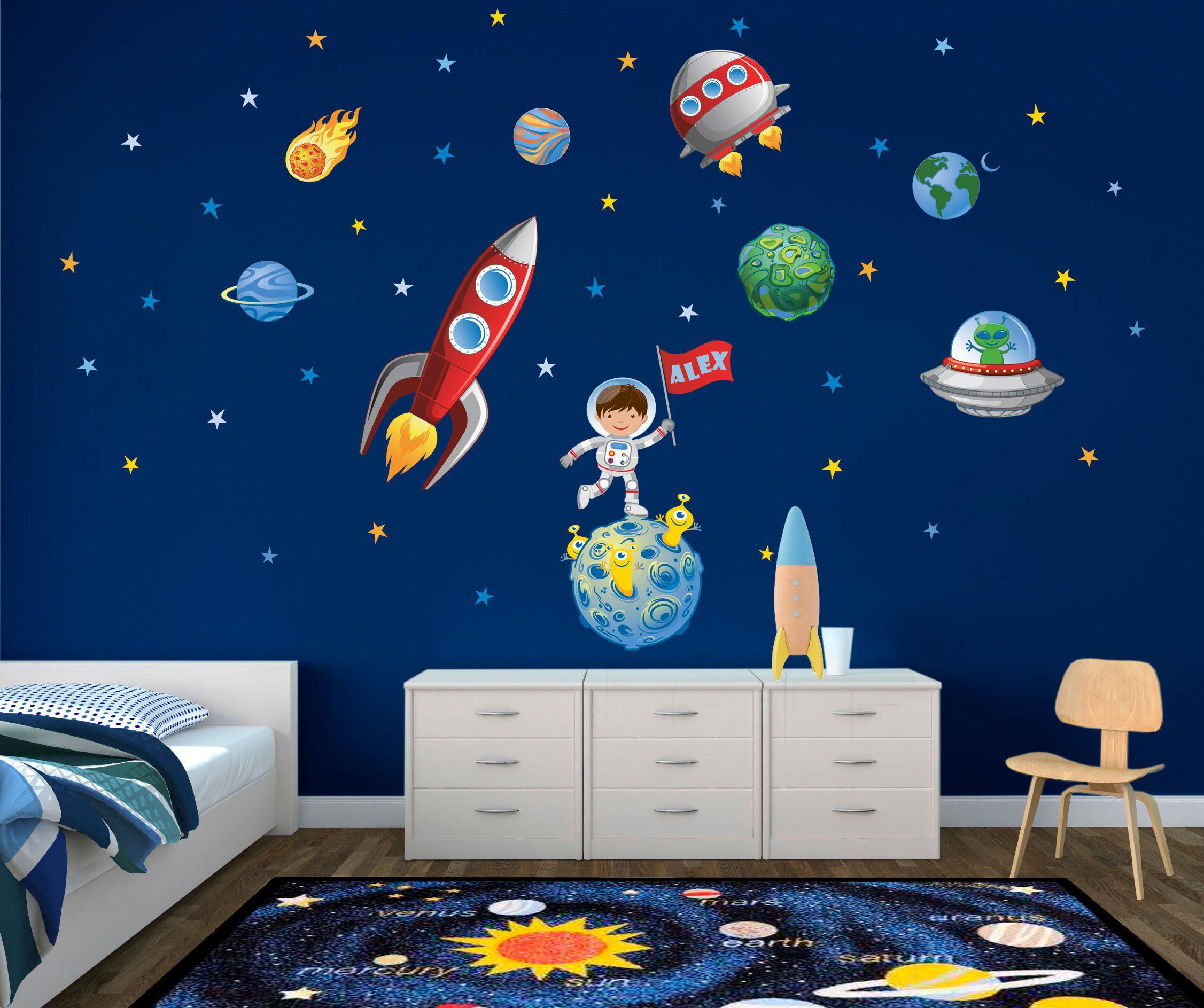 Rocket Personalised Wall Sticker Space Boys Girls Custom Name Kids Bedroom Wall Decals Stickers Home Furniture Diy Home Furniture Diy Children S Home Furniture