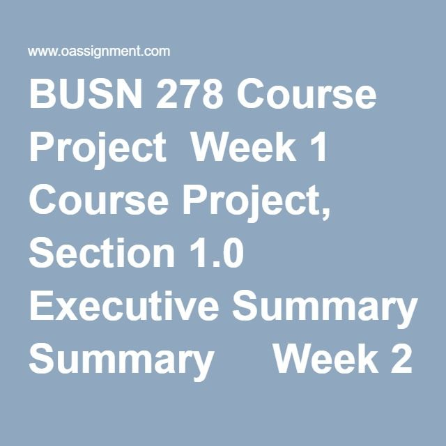 Busn  Course Project Week  Course Project Section
