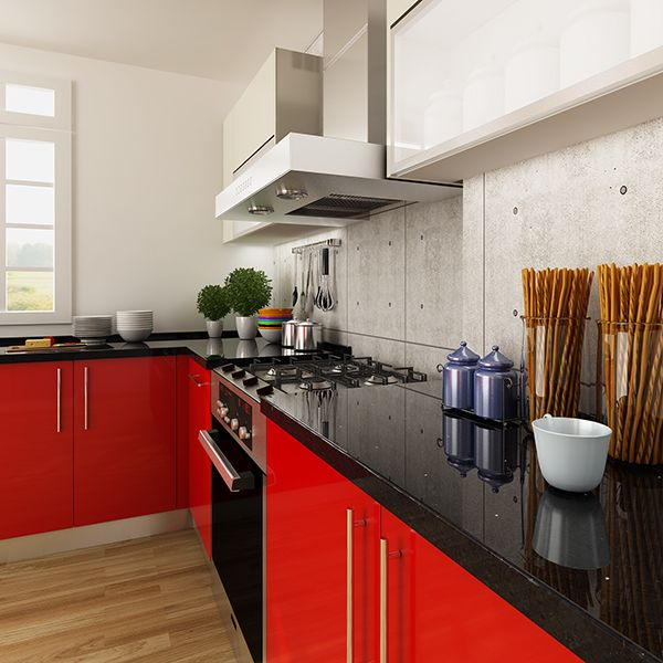 Kitchen Cabinets, Laminate, Red, OP14 HPL01