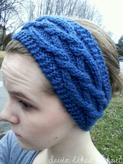 Intertwining Diamonds Cabled Headbandear Warmer Knit Pattern