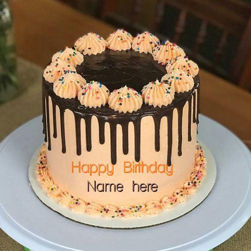 Write Name On Yummy Cream Birthday Cake Orange Chocolate Birthday