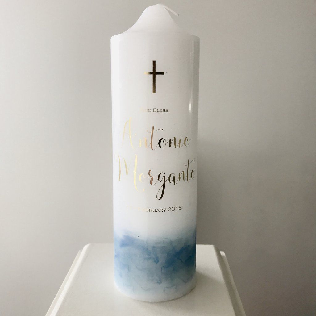 Baptism candle with or without photo blue or pink Personalised Christening