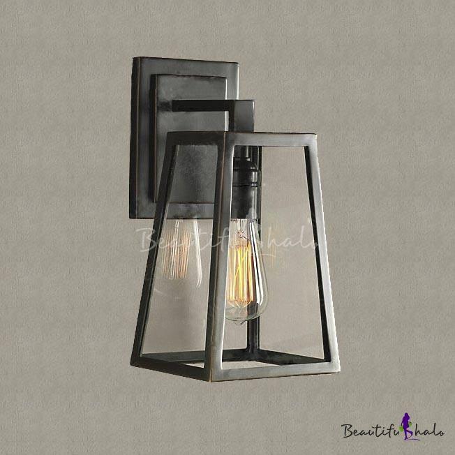 Matte Black Single Light Wall Sconce Industrial Retro Iron Trapezoid Leds Lustres Lanterna