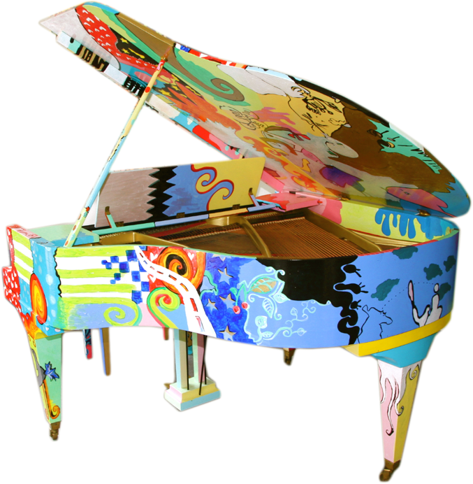 Hand Painted Pop Art Piano Quot Artistic Duo Quot Living Quot Color
