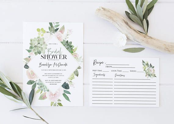 Bridal Shower Template Greenery Pink Bridal Shower Invitation Template Details Card .