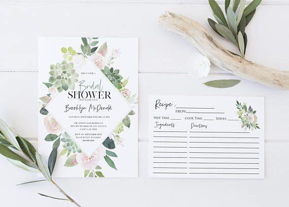 Bridal Shower Template Entrancing Greenery Pink Bridal Shower Invitation Template Details Card .