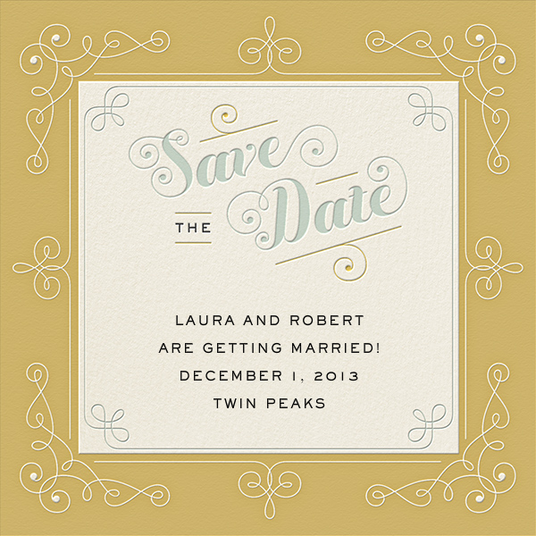 Buttermilk by Jessica Hische for Paperless Post.  Available on paper and online. Customize your wedding save the date to match your personal style on paperlesspost.com.
