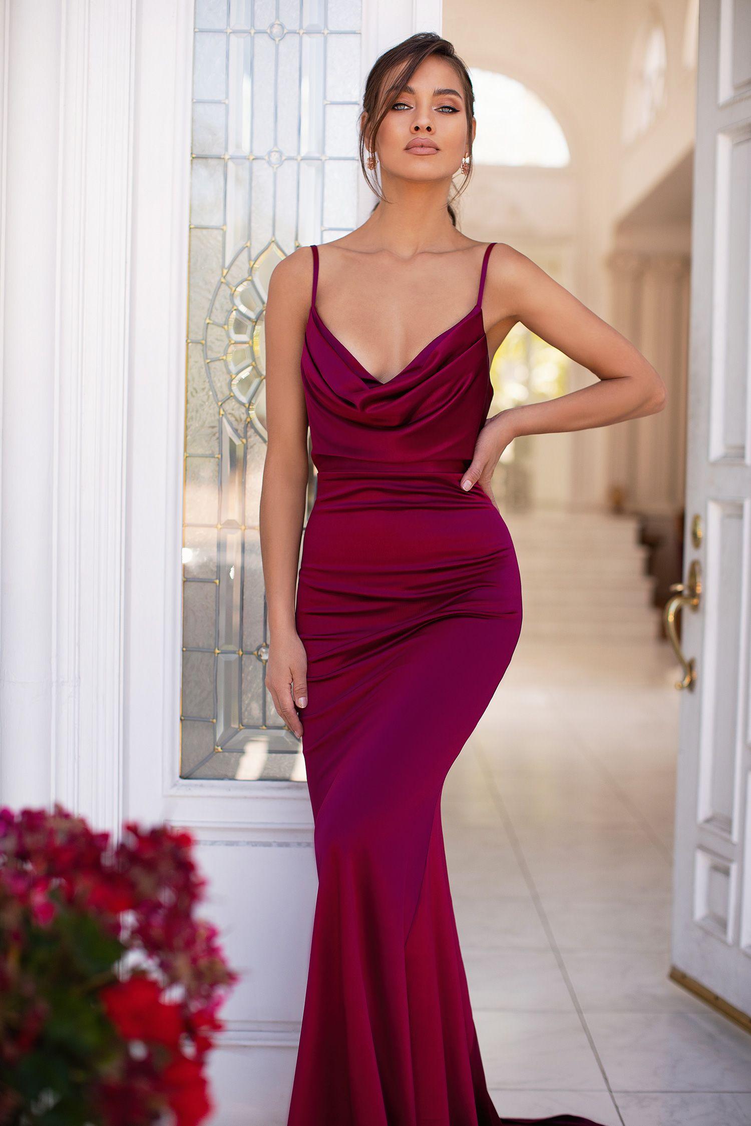 Vamira Burgundy In 2020 Silk Prom Dress Silk Bridesmaid Dresses Gala Dresses