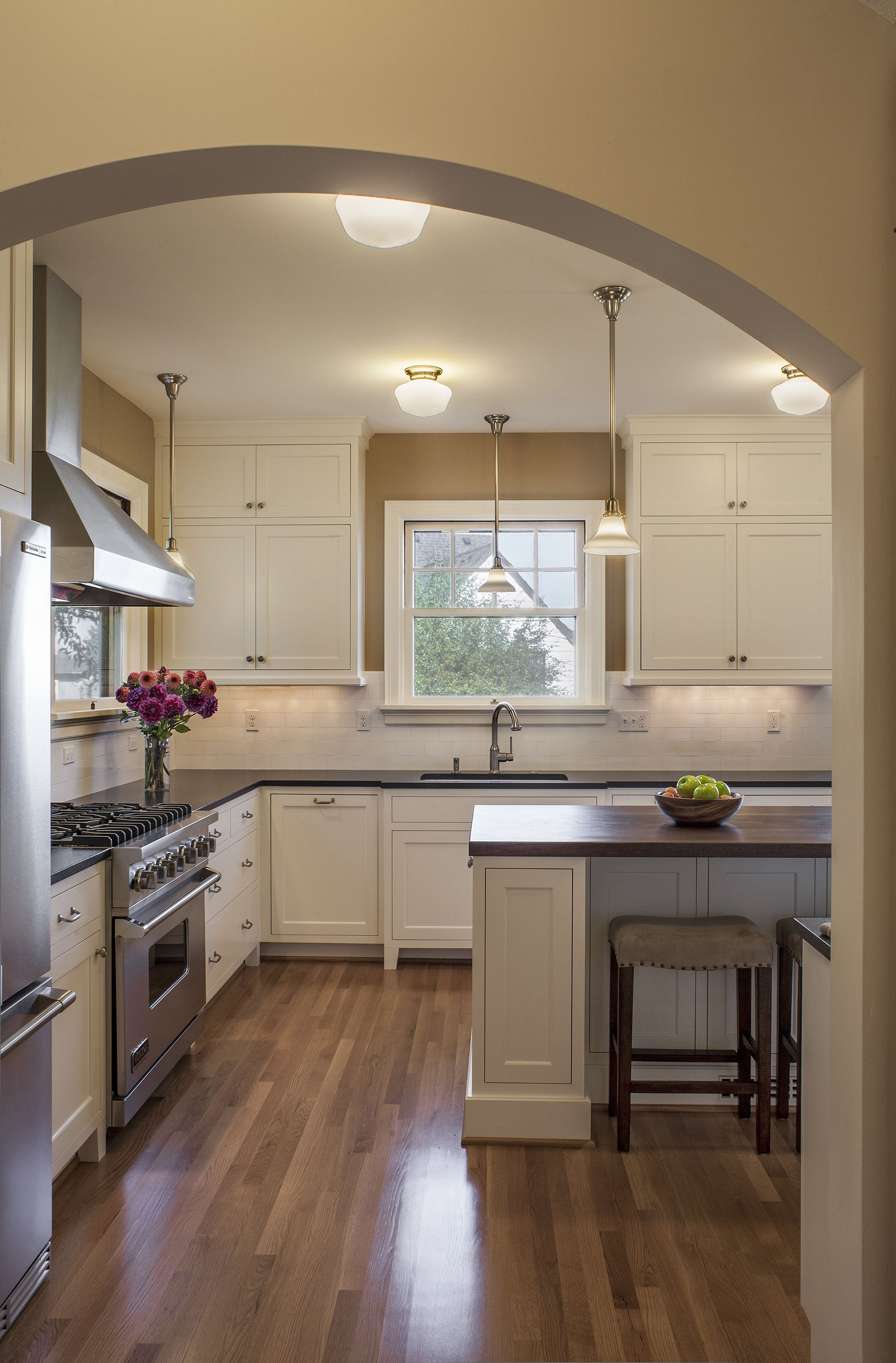 Kitchen Remodel  Island Wood Floors White Cabinets Stainless Custom How To Design A Kitchen Renovation Inspiration Design