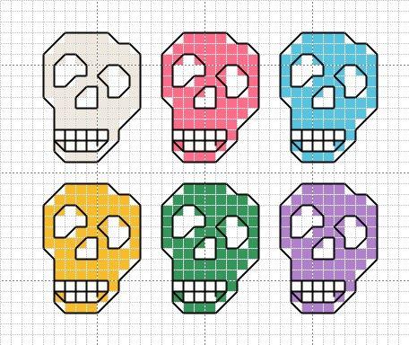 Multi-colored cross stitch skulls - original by Donna Kooler