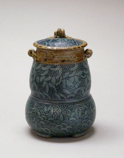 Donna Less Tourley    Untitled jar, n.d.; wheelthrown stoneware, reduction