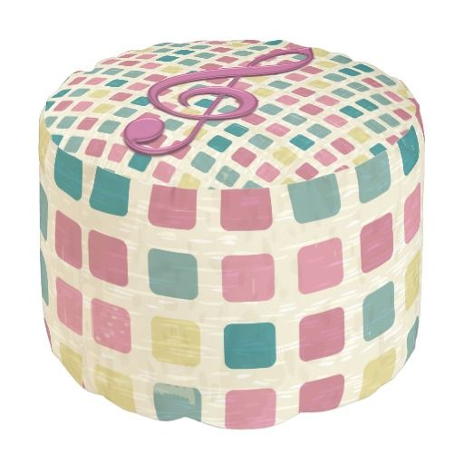 Treble Clef Mosaic Pattern Pink and Teal Round Pouf
