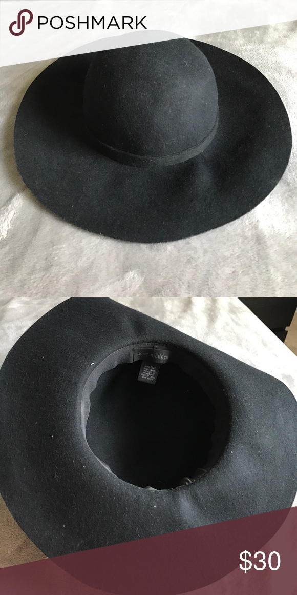 4f5bd1dfaf6 Steve Madden Black Hat Beautiful Steve Madden Hat. Perfect for Fall. Wide  Brim that is adjustable Steve Madden Accessories Hats