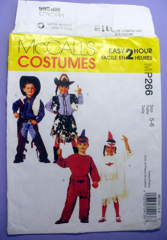 Boys and Girls Cowboys and Indians Costumes Sewing Pattern Child ...
