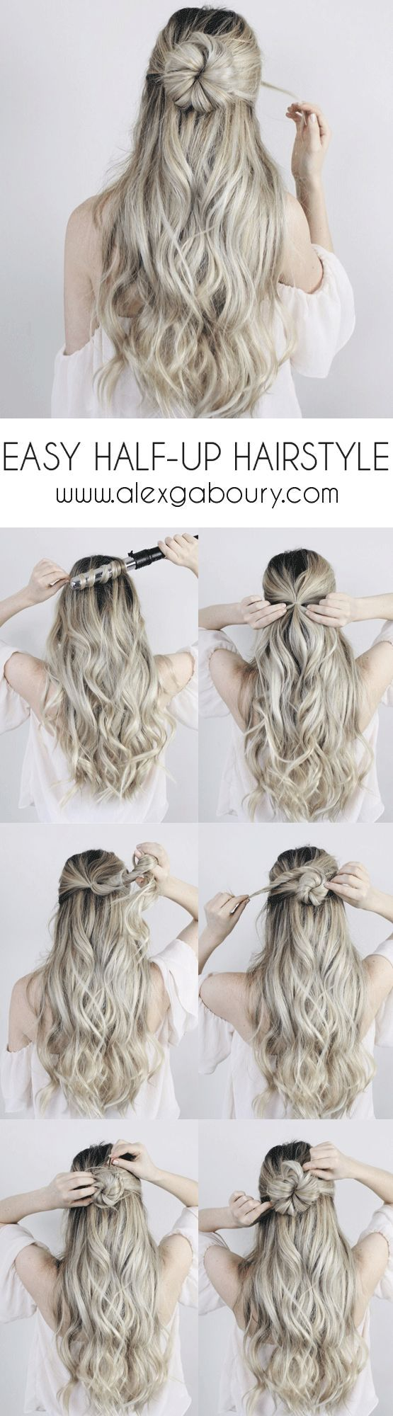 Easy Half-up Hairstyle - With a twist | Pinterest | Warm weather ...