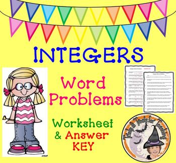 Integers Word Problems Worksheet with Answer KEY Add