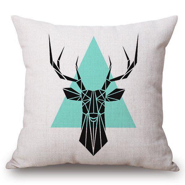 Moda Geometric Deer and Pattern Triângulo Quadrado Linho fronha (Sem Pillow Inner)