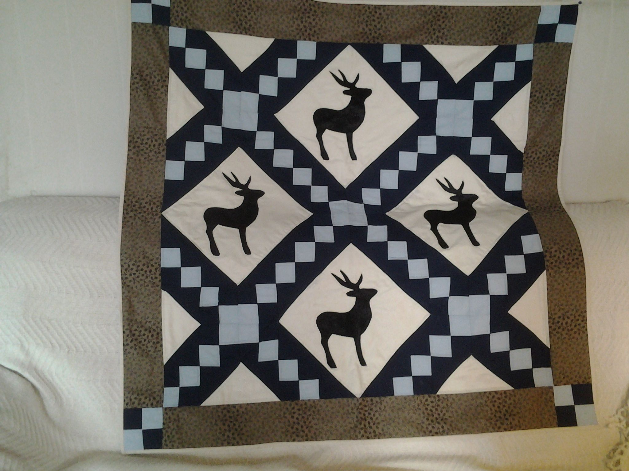 Stag quilt made for son-in-laws Birthday