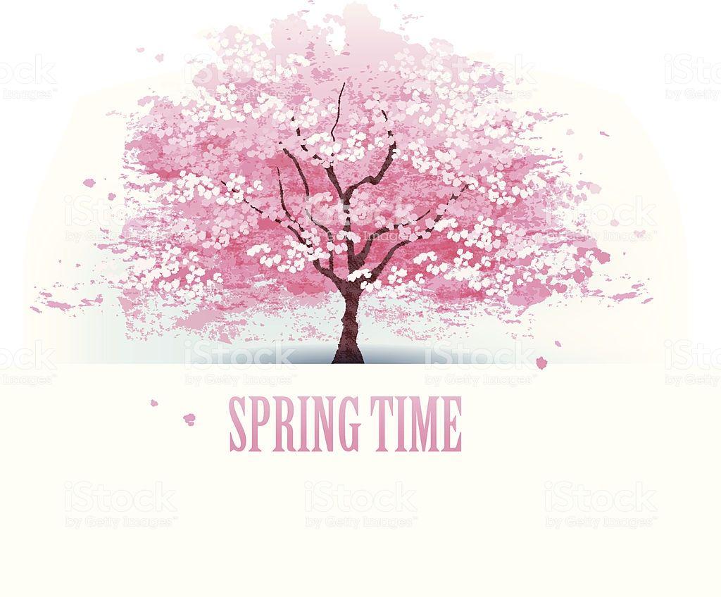 Isolated Beautiful Cherry Blossom Tree File Contains Gradients Cherry Blossom Tree Cherry Blossoms Illustration Blossom Trees